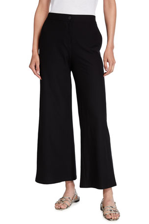 Eileen Fisher Stretch Crepe High-Waist Ankle Pants