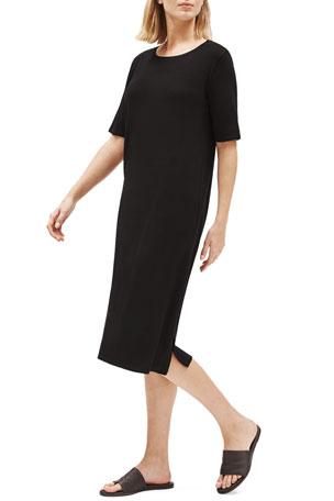 Eileen Fisher Lyocell Jersey Short-Sleeve Dress w/ Side Slit