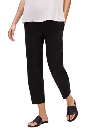 Eileen Fisher Stretch Crepe Tapered Ankle Pants