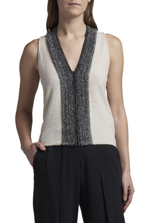 Giorgio Armani Metallic-Front Boucle Knit Tank Top