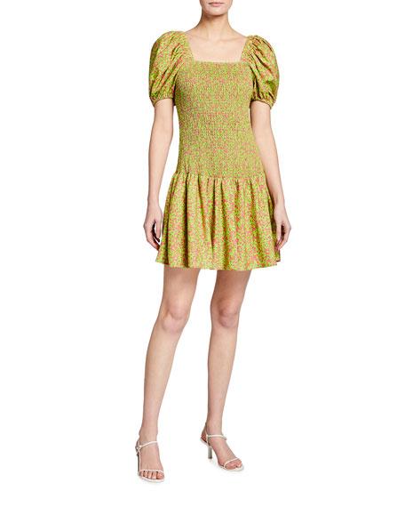 Tanya Taylor Eden Confetti Floral-print Mini Dress In Confetti Lime