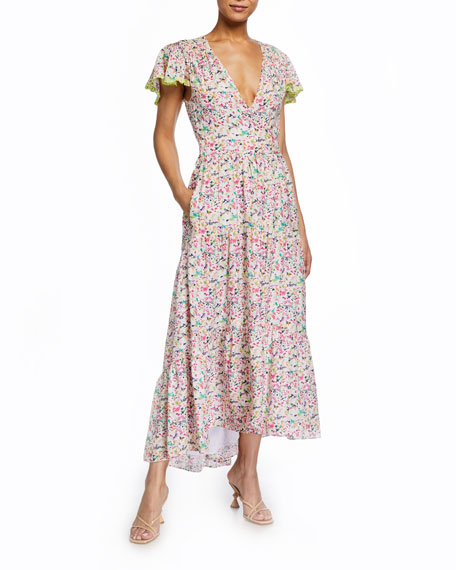 Image 1 of 2: Tanya Taylor Liza Printed High-Low Maxi Dress