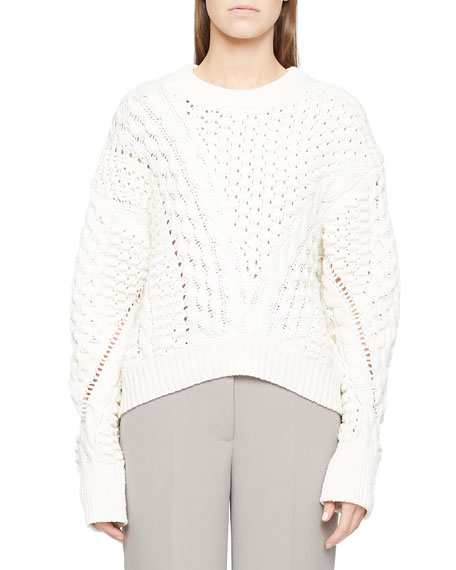 Image 2 of 2: 3.1 Phillip Lim Long-Sleeve Crewneck Cable-Knit Sweater