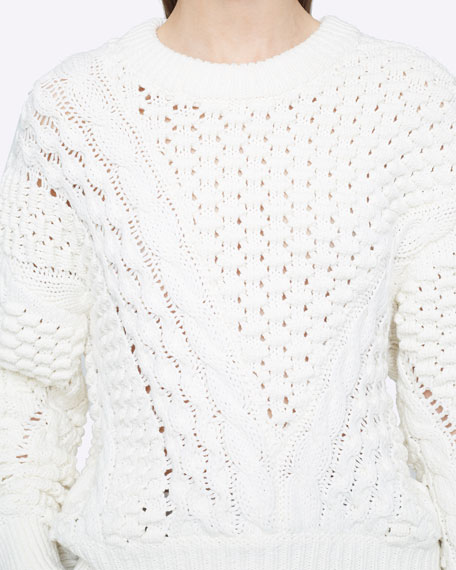 Image 1 of 2: 3.1 Phillip Lim Long-Sleeve Crewneck Cable-Knit Sweater