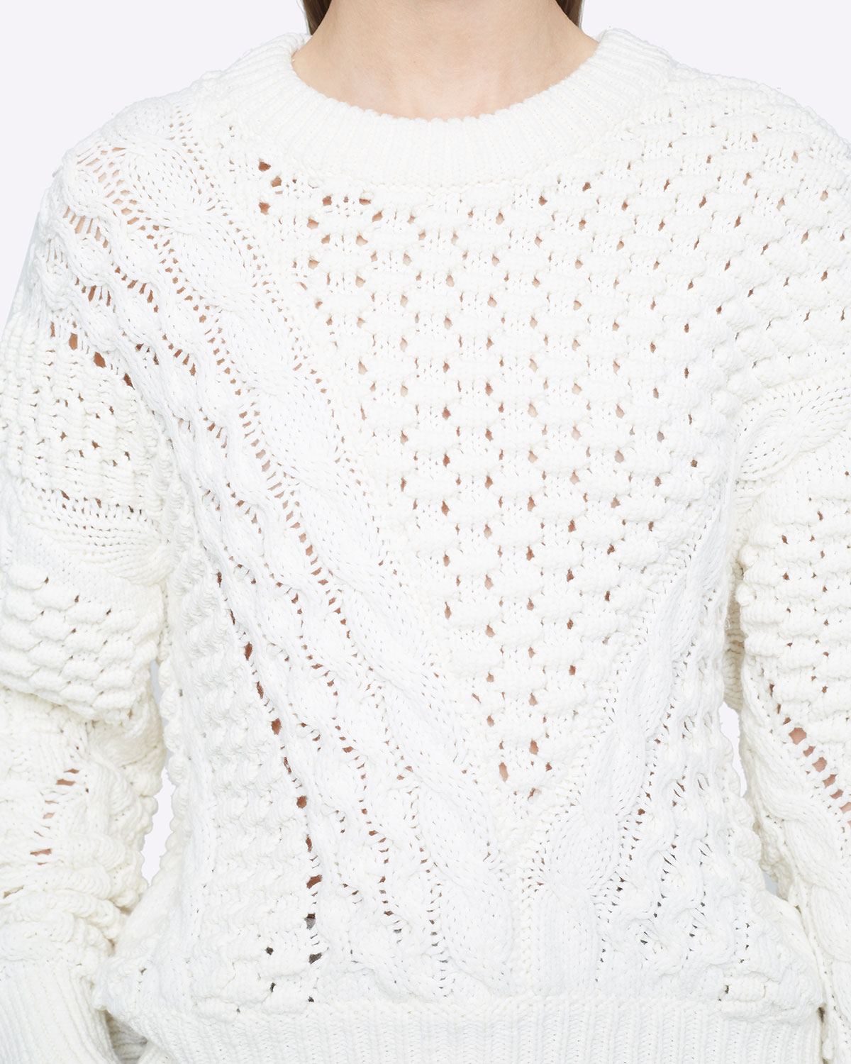 3.1 Phillip Lim Long-Sleeve Crewneck Cable-Knit Sweater