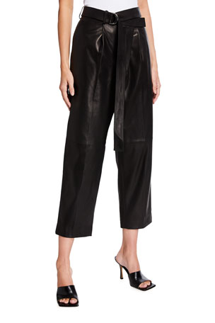 Helmut Lang Cropped Leather Wrap Pants