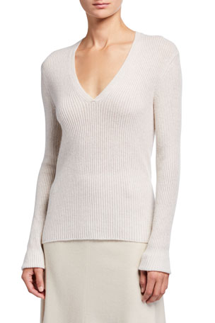 Vince Cashmere V-Neck Mini Cable Knit Sweater