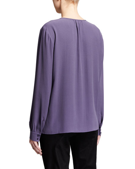 Image 3 of 3: Eileen Fisher Slit Neck Long-Sleeve Silk Georgette Blouse