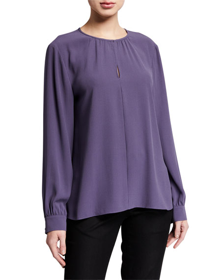 Image 1 of 3: Eileen Fisher Slit Neck Long-Sleeve Silk Georgette Blouse