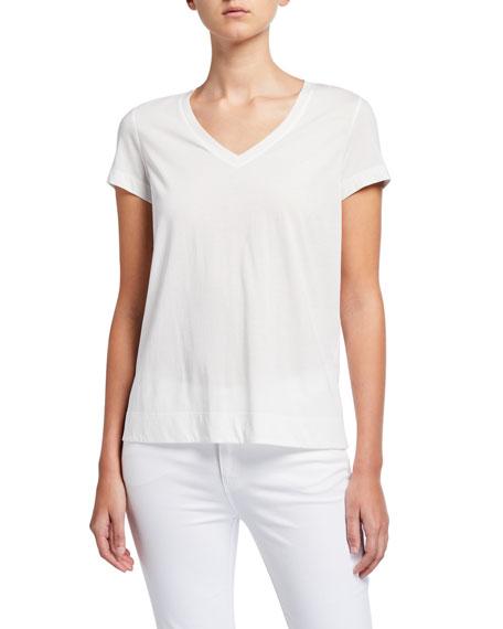 Lafayette 148 New York V-Neck Short-Sleeve Modern Cotton Jersey Tee