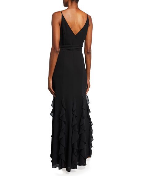 Image 2 of 2: Badgley Mischka Collection V-Neck Sleeveless Cascading Ruffle Column Gown
