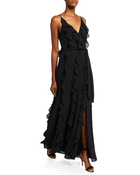 Image 1 of 2: Badgley Mischka Collection V-Neck Sleeveless Cascading Ruffle Column Gown