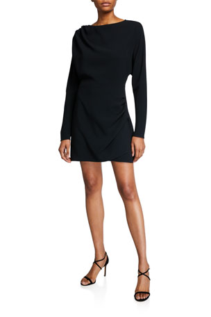 A.L.C. Greer High-Neck Long-Sleeve Mini Dress