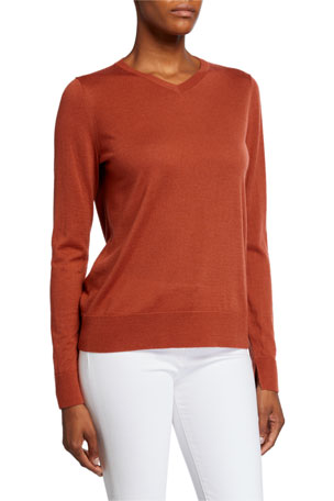 Lafayette 148 New York V-Neck Fine Gauge Merino Wool Sweater