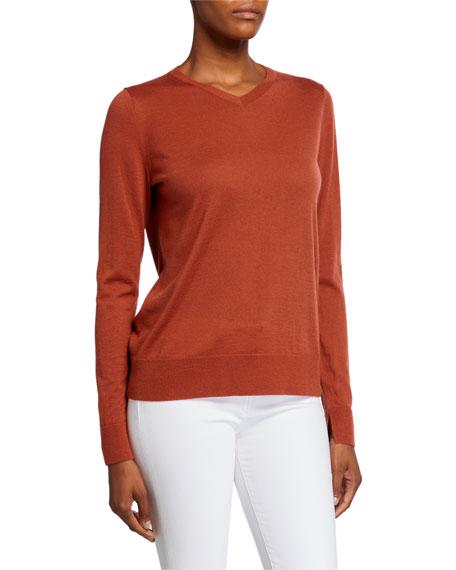 Lafayette 148 New York V-Neck Fine Gauge Merino Wool Sweater
