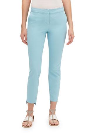 Lafayette 148 New York Manhattan Fundamental Bi-Stretch Slim Pants w/ Step Hem