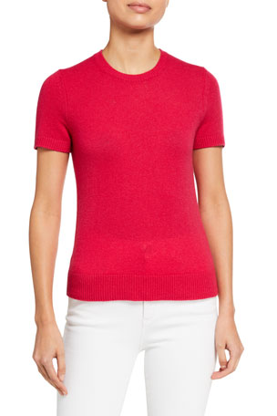 Theory Basic Short-Sleeve Cashmere Tee