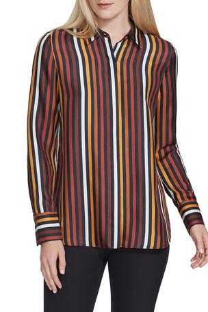 Lafayette 148 New York Scottie Horizon Stripe Silk Button-Down Blouse