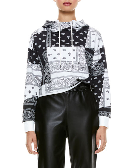 Image 4 of 5: ALICE + OLIVIA JEANS Niki Funnel-Neck Cropped Hoodie