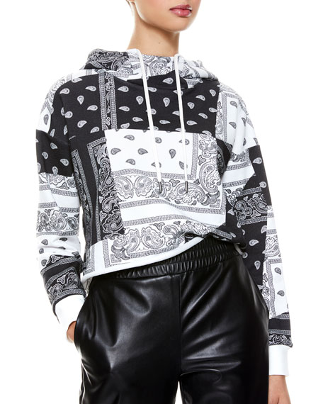 Image 1 of 5: ALICE + OLIVIA JEANS Niki Funnel-Neck Cropped Hoodie
