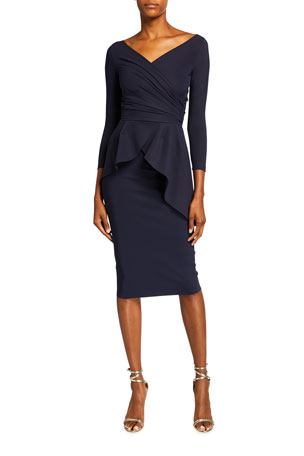 Chiara Boni La Petite Robe Duth 3/4-Sleeve Peplum Sheath Dress