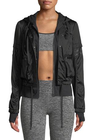 Blanc Noir Skyfall Hooded Bomber Jacket
