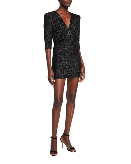 Image 1 of 2: Iro Justify Sequined V-Neck Mini Dress