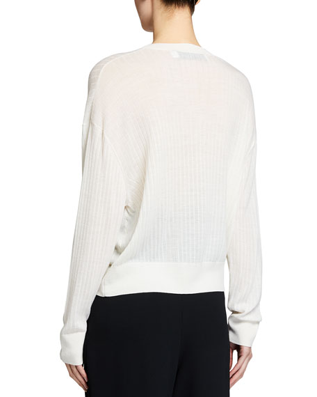 Image 2 of 3: Iro Teluk Long-Sleeve Sheer V-Neck Sweater