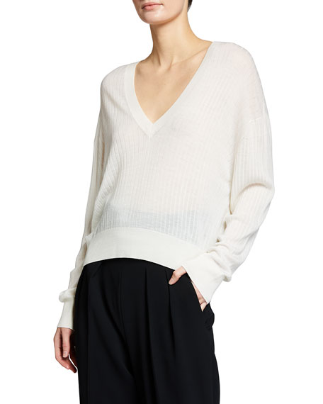 Image 3 of 3: Iro Teluk Long-Sleeve Sheer V-Neck Sweater
