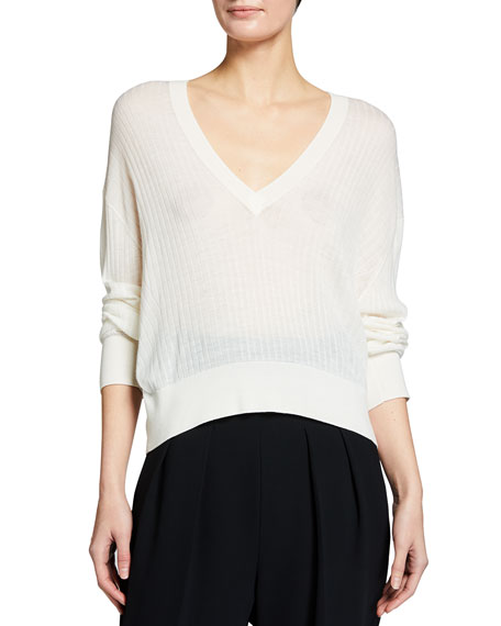 Image 1 of 3: Iro Teluk Long-Sleeve Sheer V-Neck Sweater