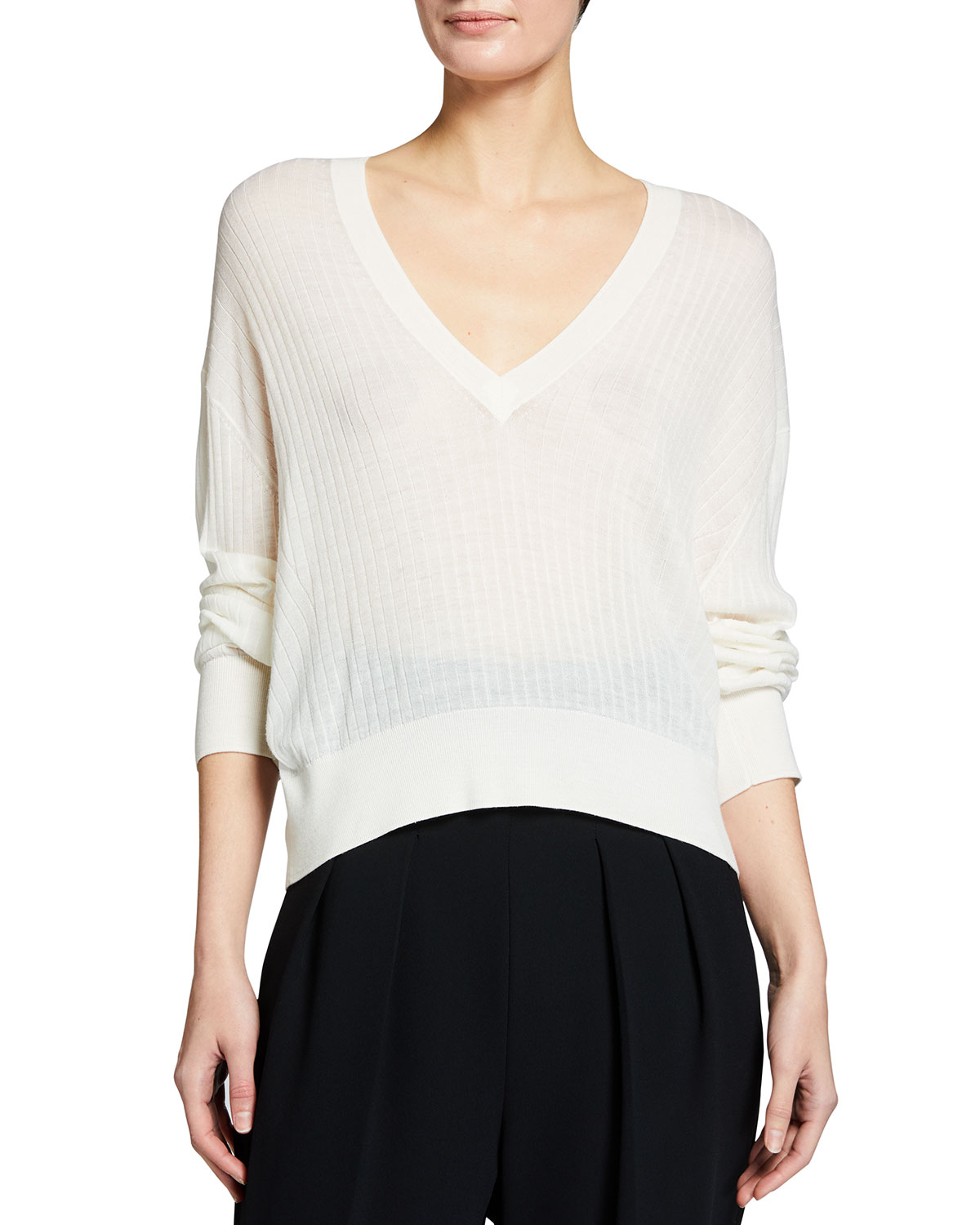 Iro Teluk Long-Sleeve Sheer V-Neck Sweater