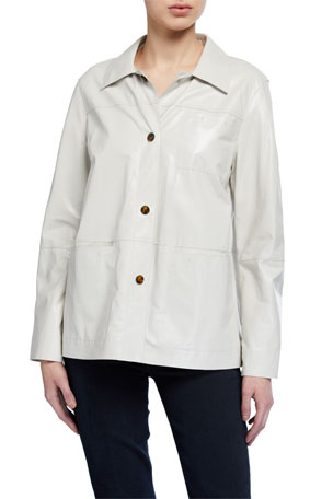 Lafayette 148 New York Wellesley Lacquered Lambskin Button-Front Jacket