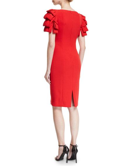 Image 2 of 2: Badgley Mischka Collection Square-Neck Cocktail Dress w/ Looped Sleeves