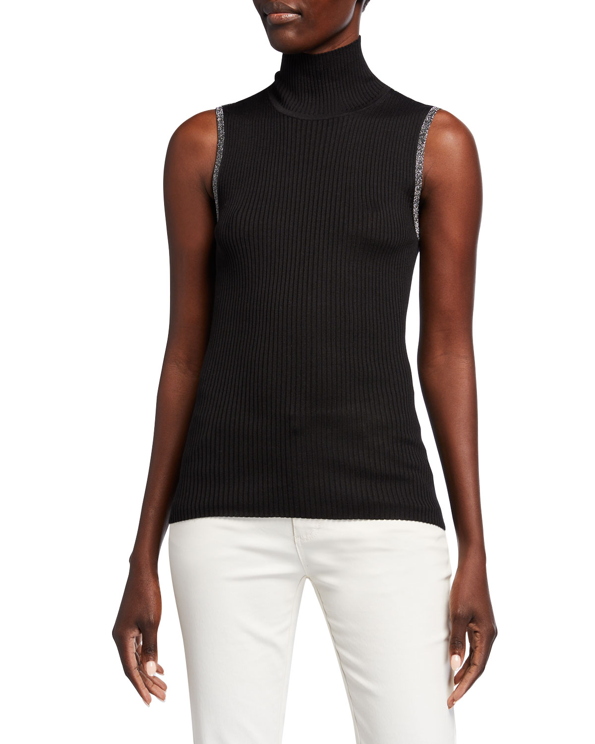 JED Skinny Mini Rib Sleeveless Turtleneck Sweater w/ Metallic Trim