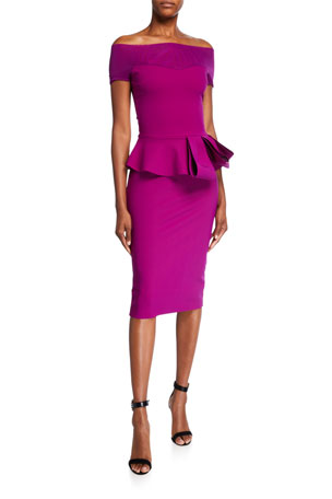 Chiara Boni La Petite Robe Nabelle Illusion Dress w/ Peplum Waist