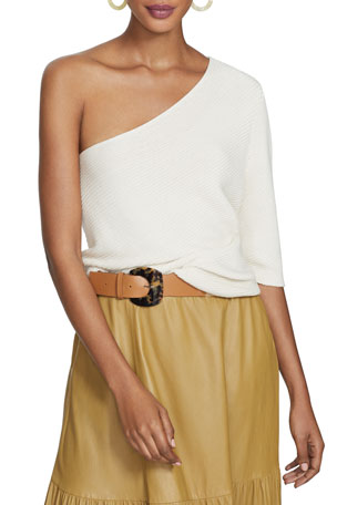 Lafayette 148 New York One-Shoulder Diagonal Stitch Cotton-Silk Tape Sweater