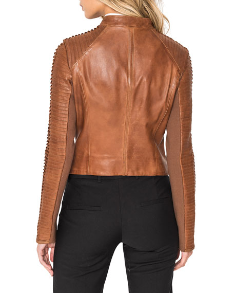 Image 4 of 5: LaMarque Azra Leather Moto Jacket