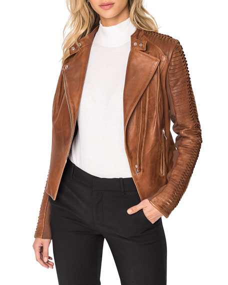 Image 1 of 5: LaMarque Azra Leather Moto Jacket