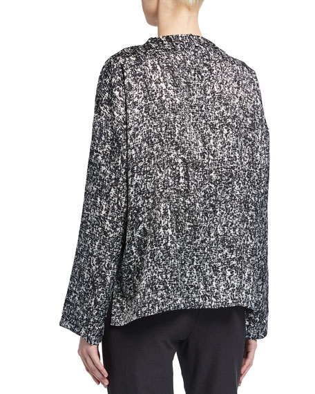 Image 2 of 2: Eileen Fisher Prism Print Funnel-Neck Silk/Organic Cotton Box Top