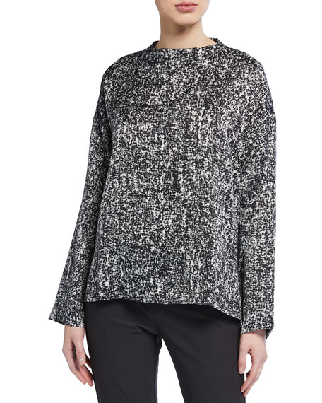 Image 1 of 2: Eileen Fisher Prism Print Funnel-Neck Silk/Organic Cotton Box Top