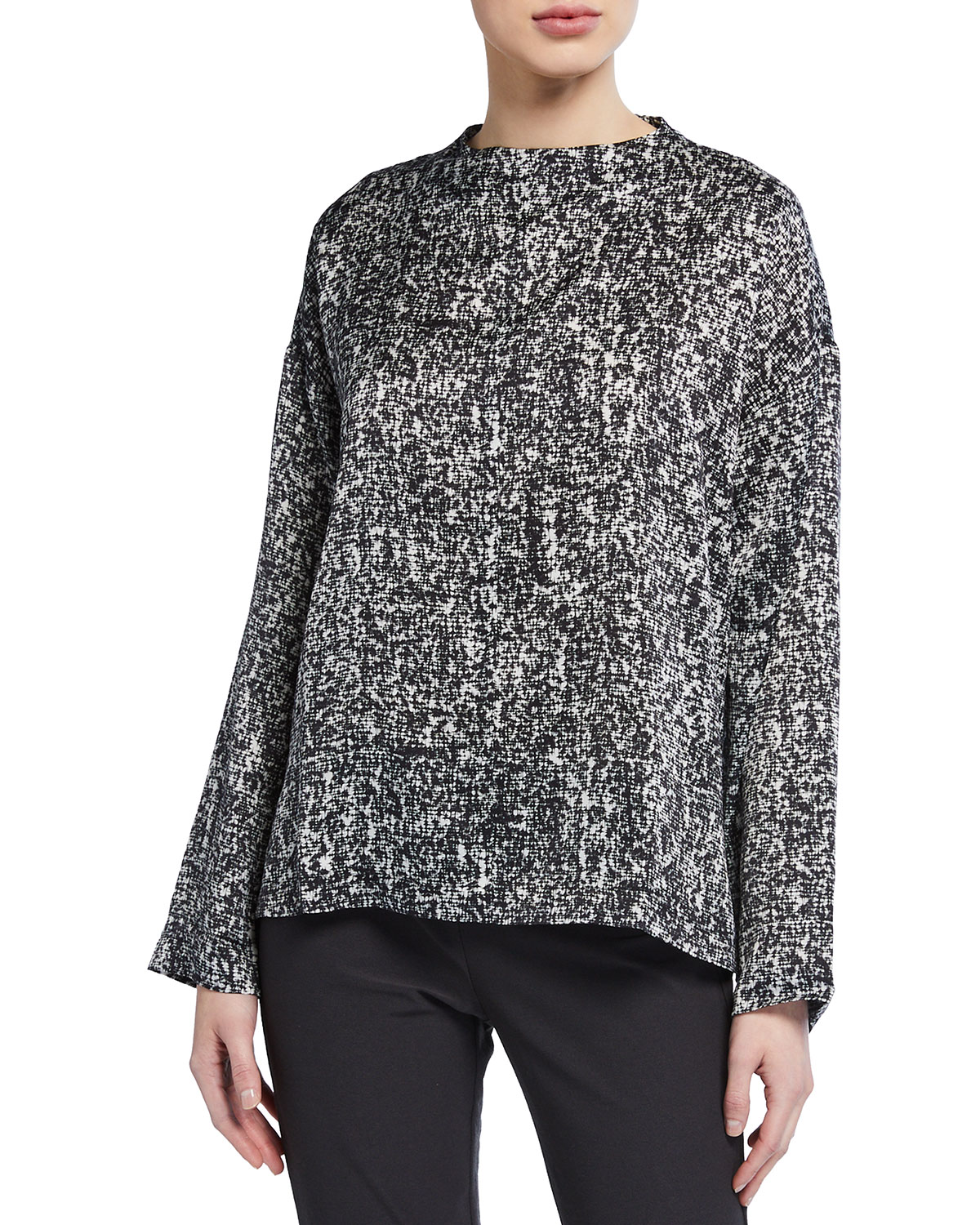 Eileen Fisher Prism Print Funnel-Neck Silk/Organic Cotton Box Top