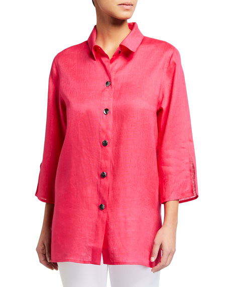Image 1 of 3: Caroline Rose Petite Breezy Tissue Linen 3/4-Sleeve Shirt