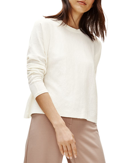 Image 2 of 2: Eileen Fisher Plus Size Long-Sleeve Boxy Organic Linen Crepe Sweater
