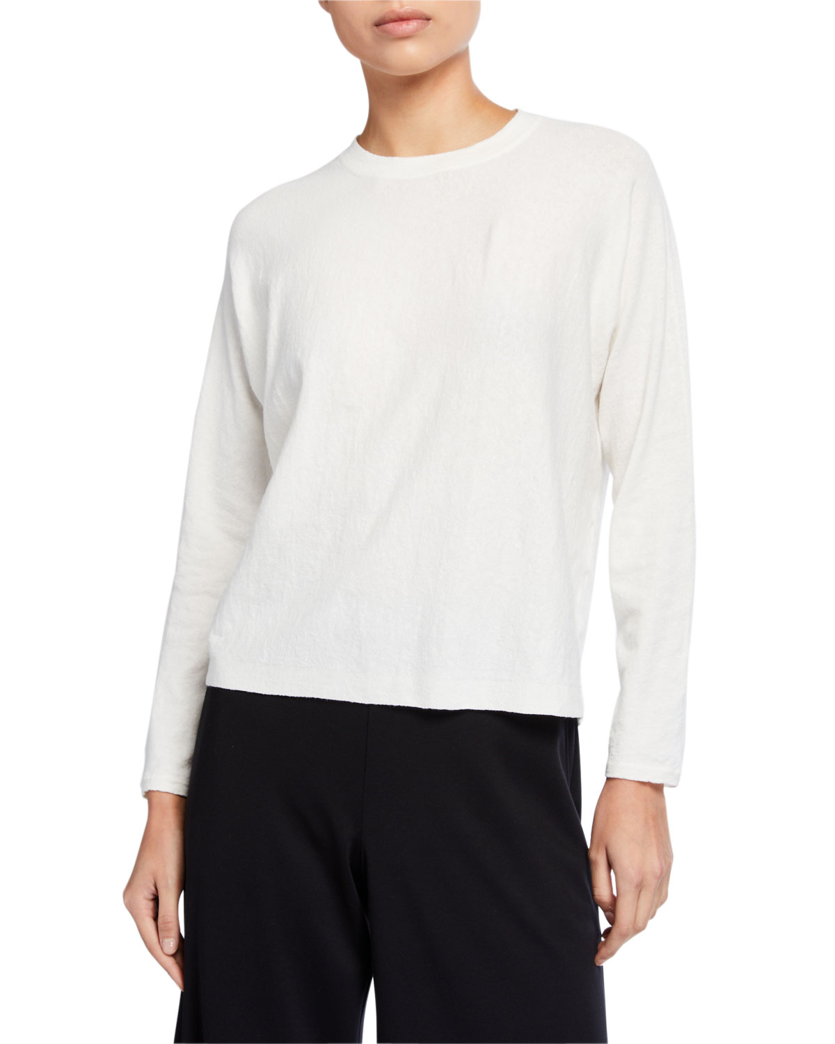 Eileen Fisher Plus Size Long-Sleeve Boxy Organic Linen Crepe Sweater