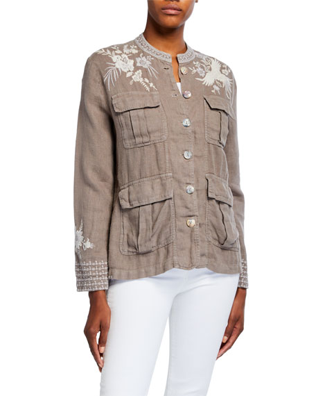 Image 2 of 3: Johnny Was Petite Oleander Embroidered Linen Safari Jacket