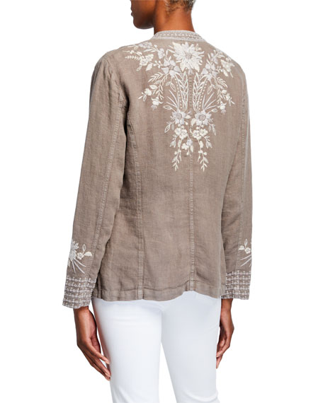 Image 3 of 3: Johnny Was Petite Oleander Embroidered Linen Safari Jacket