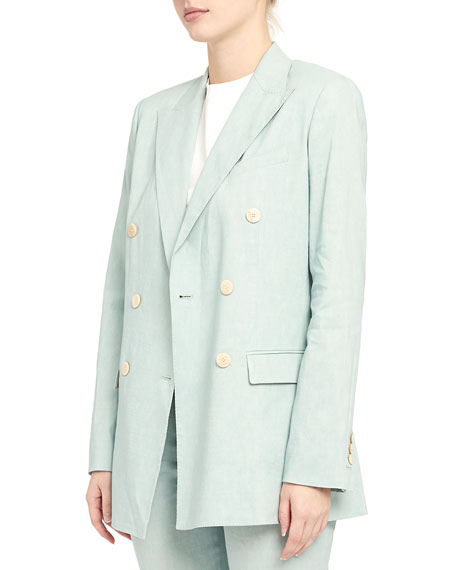 Image 4 of 4: Theory Double Breasted Tailored Linen-Blend Jacket