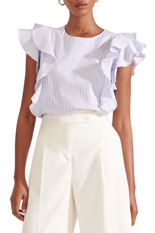 Veronica Beard Emert Ruffled Top