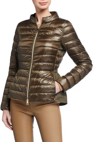 Herno Short Zip-Up Woven Down Jacket