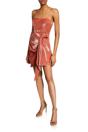 cinq a sept Kiki Draped Velvet Mini Dress